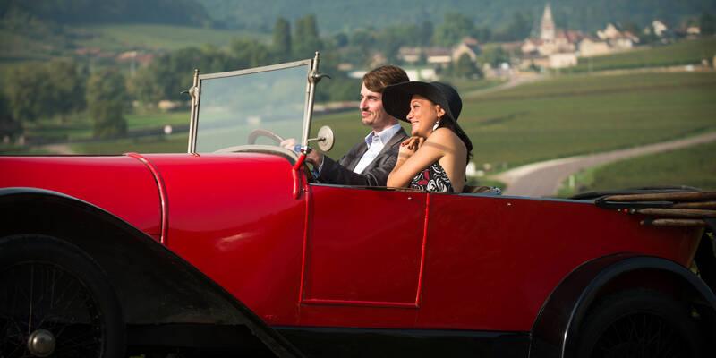 Bugatti por las viñas, Route des grands crus autour de Beaune