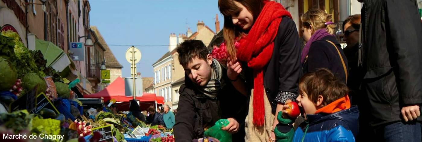 Mercado de Chagny, Borgoña en Francia